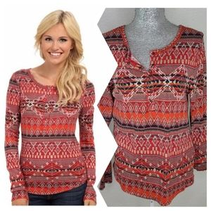 Lucky Brand Southwest  Thermal Henley Top